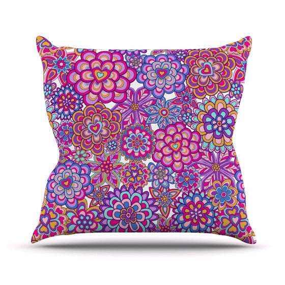 "Julia Grifol ""My Happy Flowers"" Outdoor Throw Pillow - KESS InHouse  - 1"