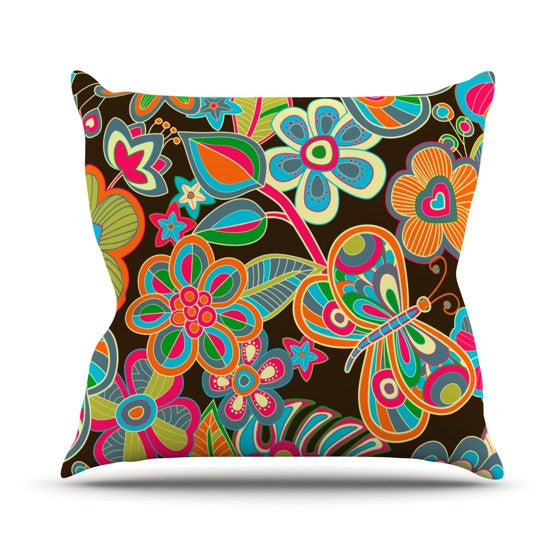 "Julia Grifol ""My Butterflies & Flowers"" Outdoor Throw Pillow - KESS InHouse  - 1"
