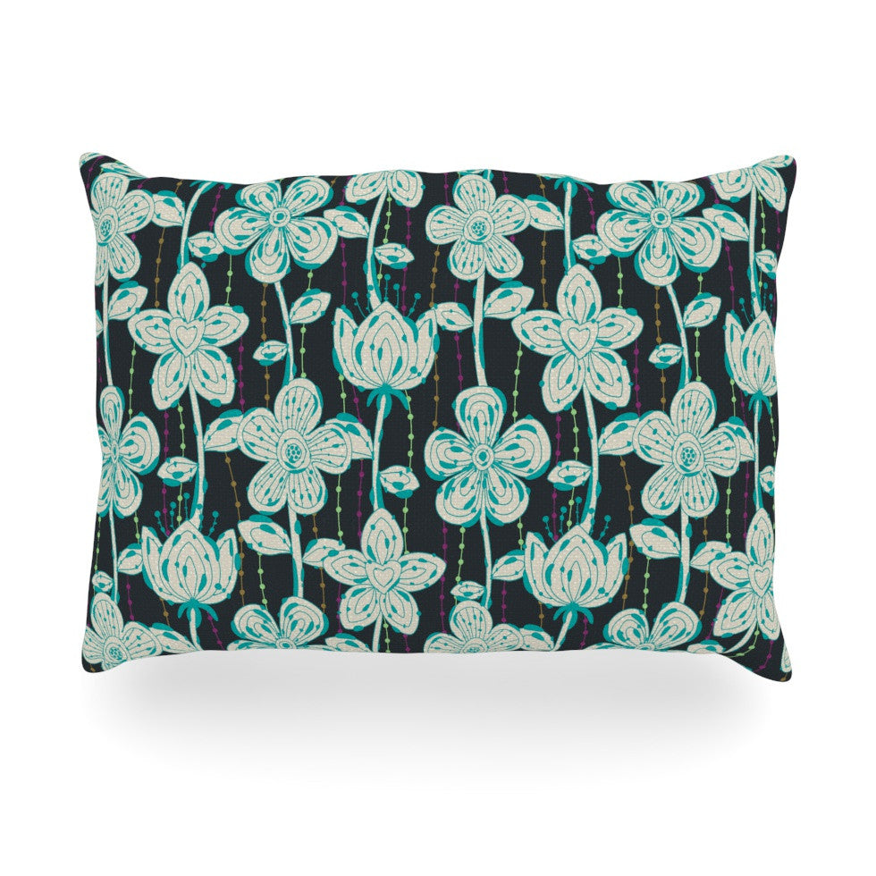 "Julia Grifol ""My Grey Spotted Flowers"" Oblong Pillow - KESS InHouse"