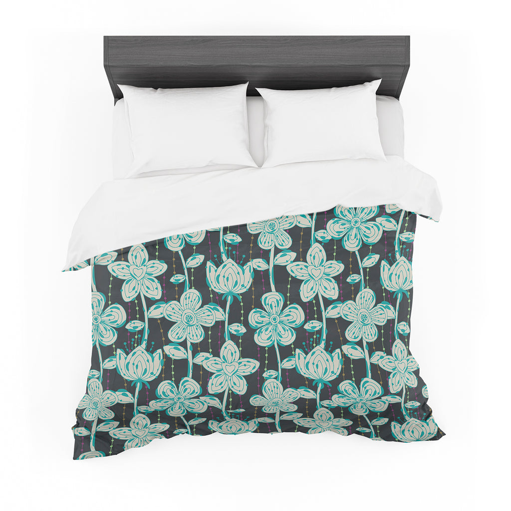 "Julia Grifol ""My Grey Spotted Flowers"" Featherweight Duvet Cover"