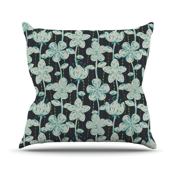 "Julia Grifol ""My Grey Spotted Flowers"" Outdoor Throw Pillow - KESS InHouse  - 1"
