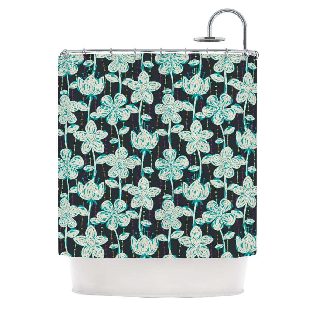 "Julia Grifol ""My Grey Spotted Flowers"" Shower Curtain - KESS InHouse"
