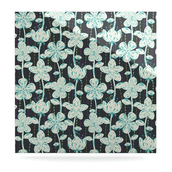 "Julia Grifol ""My Grey Spotted Flowers"" Luxe Square Panel - KESS InHouse  - 1"