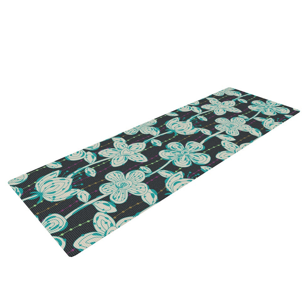 "Julia Grifol ""My Grey Spotted Flowers"" Yoga Mat - KESS InHouse  - 1"