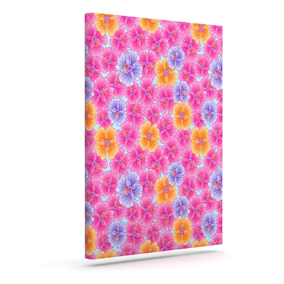 "Julia Grifol ""My Pink Garden"" Outdoor Canvas Wall Art - KESS InHouse  - 1"