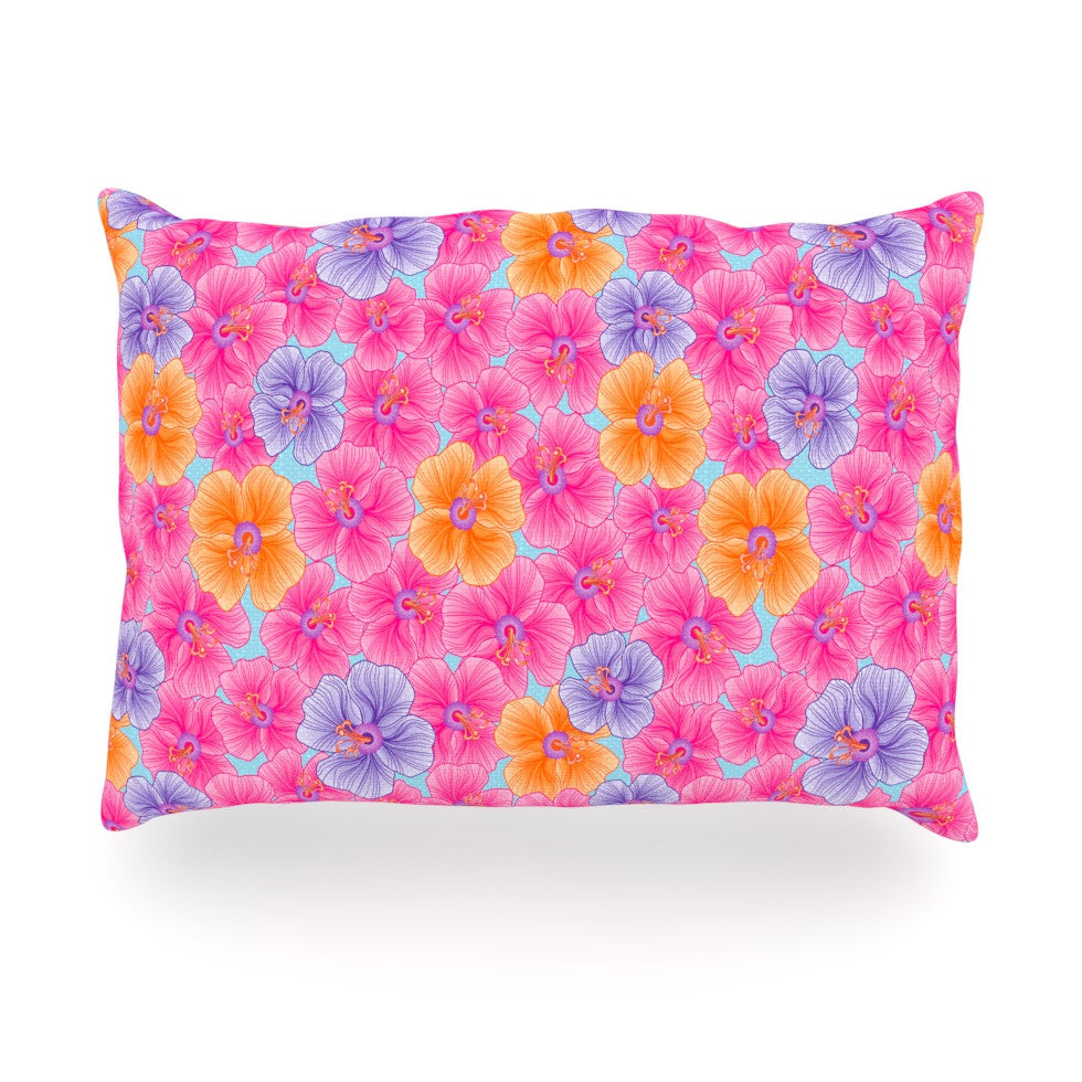 "Julia Grifol ""My Pink Garden"" Oblong Pillow - KESS InHouse"