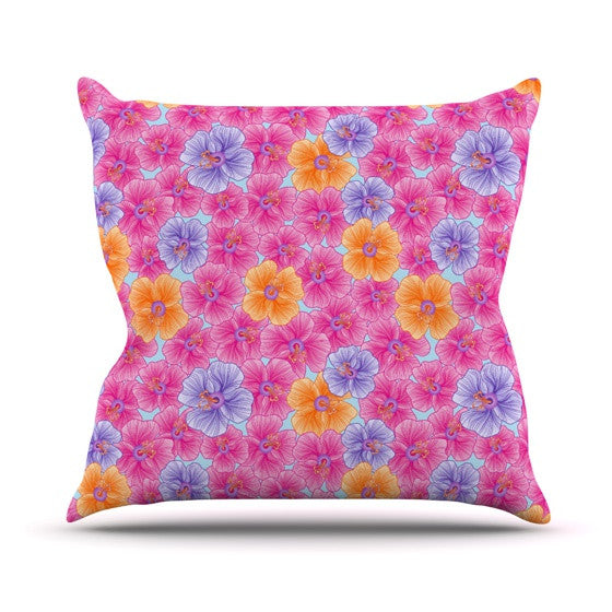 "Julia Grifol ""My Pink Garden"" Throw Pillow - KESS InHouse  - 1"