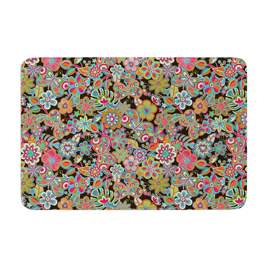 "Julia Grifol ""My Butterflies & Flowers in Brown"" Rainbow Floral Memory Foam Bath Mat - KESS InHouse"
