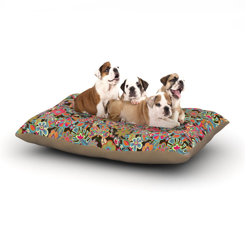 "Julia Grifol ""My Butterflies & Flowers in Brown"" Rainbow Floral Dog Bed - KESS InHouse  - 1"