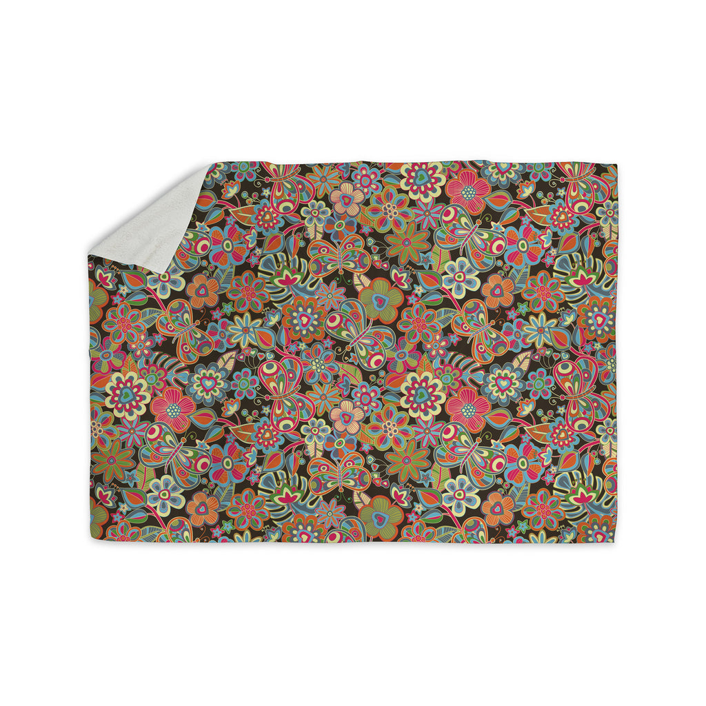"Julia Grifol ""My Butterflies & Flowers in Brown"" Rainbow Floral Sherpa Blanket - KESS InHouse  - 1"