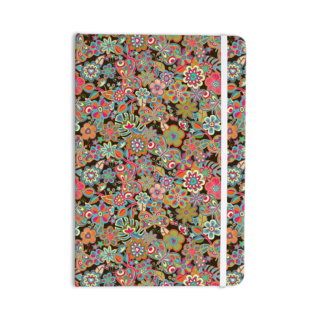"Julia Grifol ""My Butterflies & Flowers in Brown"" Rainbow Floral Everything Notebook - KESS InHouse  - 1"