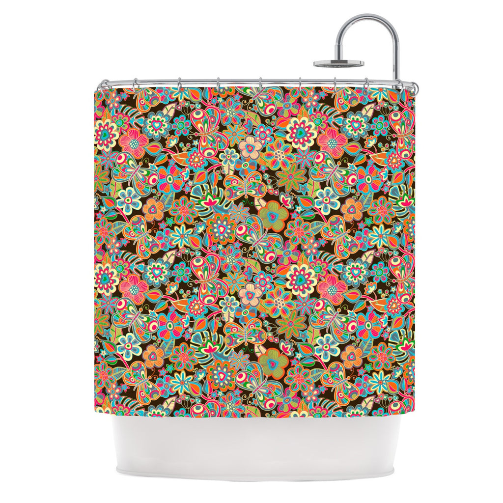 "Julia Grifol ""My Butterflies & Flowers in Brown"" Rainbow Floral Shower Curtain - KESS InHouse"