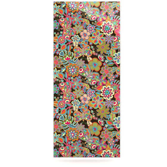 "Julia Grifol ""My Butterflies & Flowers in Brown"" Rainbow Floral Luxe Rectangle Panel - KESS InHouse  - 1"