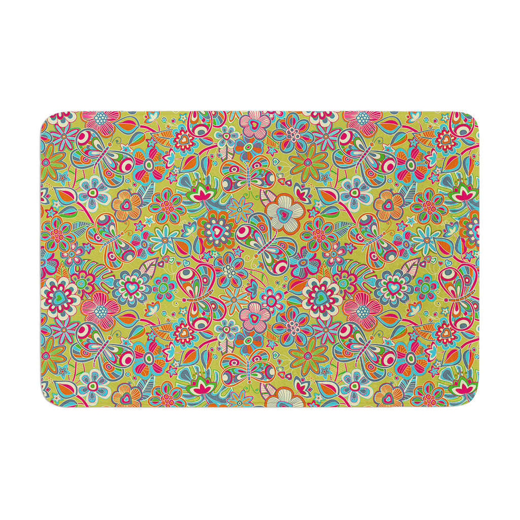 "Julia Grifol ""My Butterflies & Flowers in Green"" Rainbow Floral Memory Foam Bath Mat - KESS InHouse"