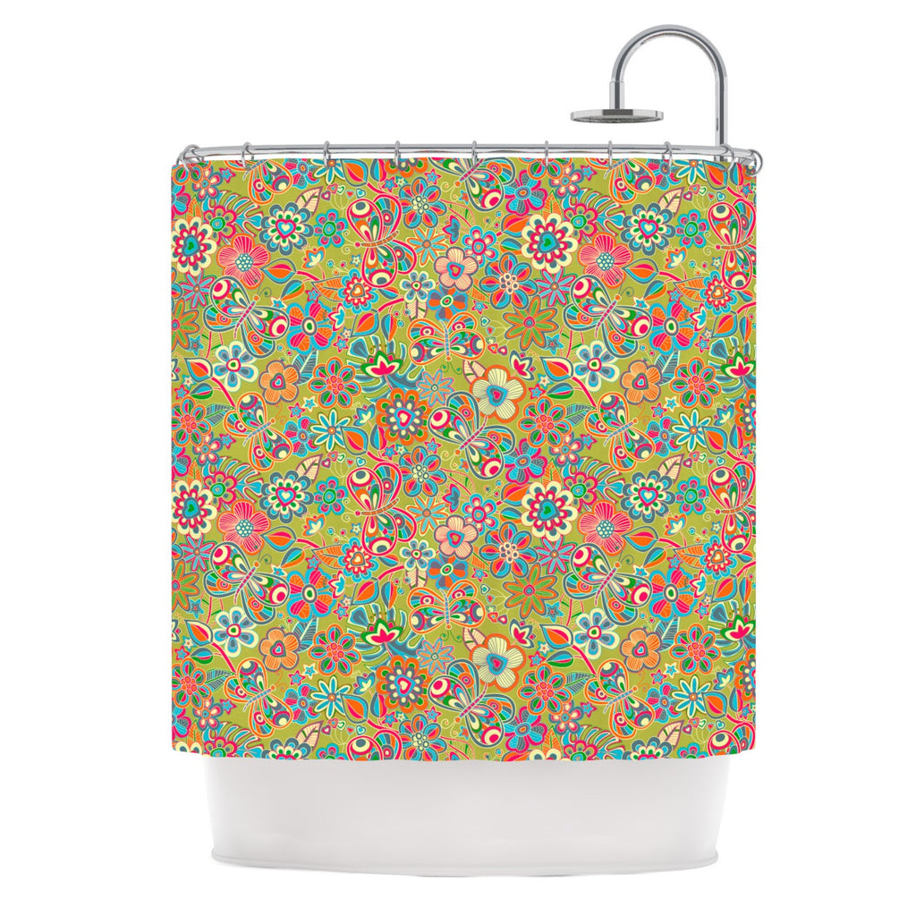 "Julia Grifol ""My Butterflies & Flowers in Green"" Rainbow Floral Shower Curtain - KESS InHouse"