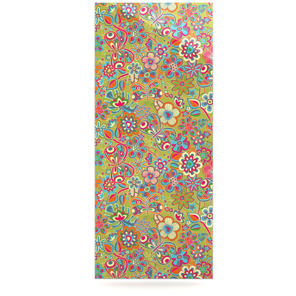 "Julia Grifol ""My Butterflies & Flowers in Green"" Rainbow Floral Luxe Rectangle Panel - KESS InHouse  - 1"