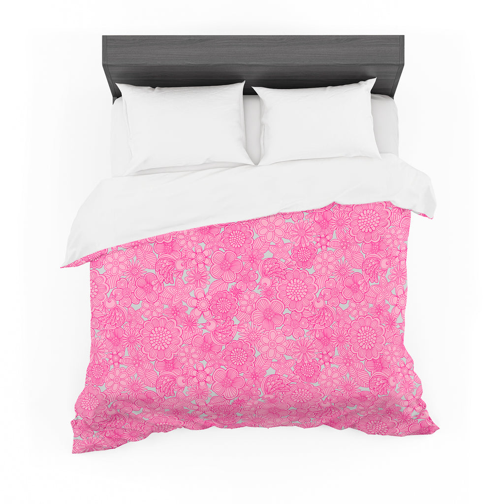 "Julia Grifol ""Welcome Birds To My Pink Garden"" Featherweight Duvet Cover"