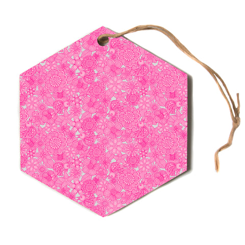 "julia grifol ""Welcome Birds to My Pink Garden""  Hexagon Holiday Ornament"