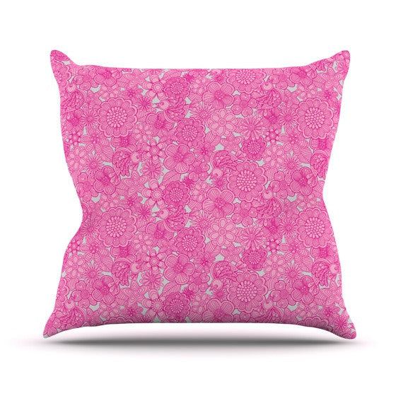 "Julia Grifol ""Welcome Birds To My Pink Garden"" Outdoor Throw Pillow - KESS InHouse  - 1"