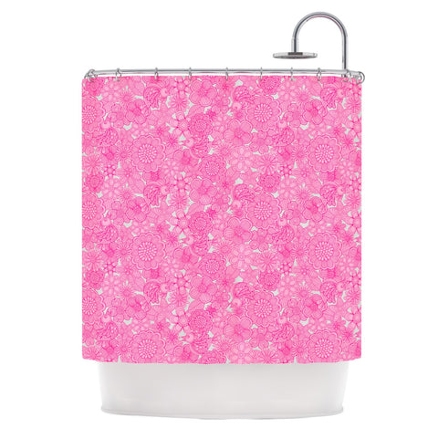 "Julia Grifol ""Welcome Birds To My Pink Garden"" Shower Curtain - KESS InHouse"