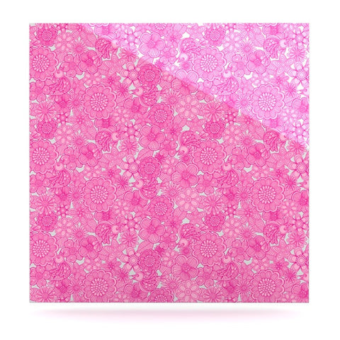 "Julia Grifol ""Welcome Birds To My Pink Garden"" Luxe Square Panel - KESS InHouse  - 1"