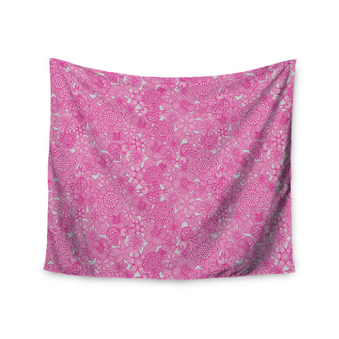 "Julia Grifol ""Welcome Birds To My Pink Garden"" Wall Tapestry - KESS InHouse  - 1"