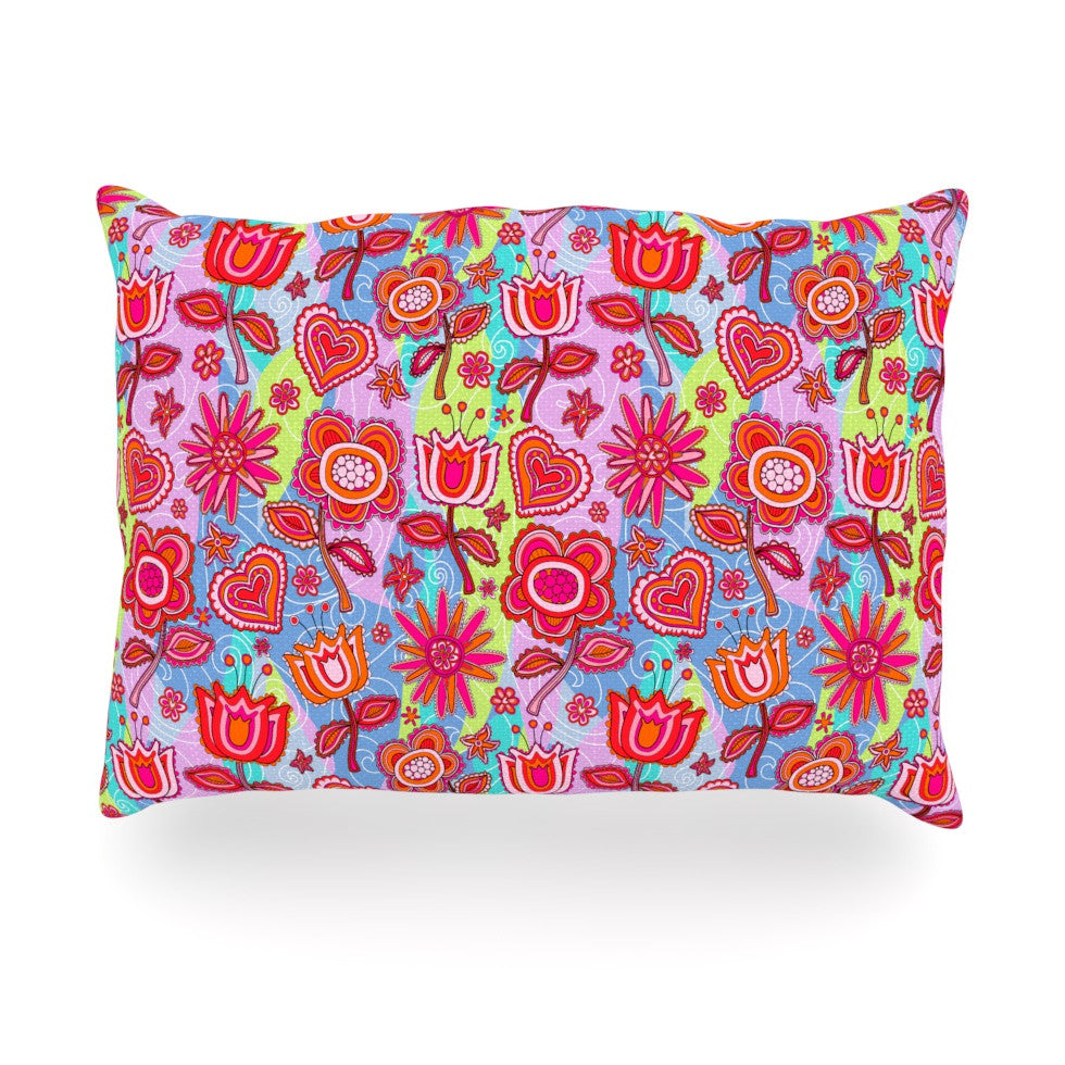 "Julia Grifol ""My Folk Flowers"" Oblong Pillow - KESS InHouse"