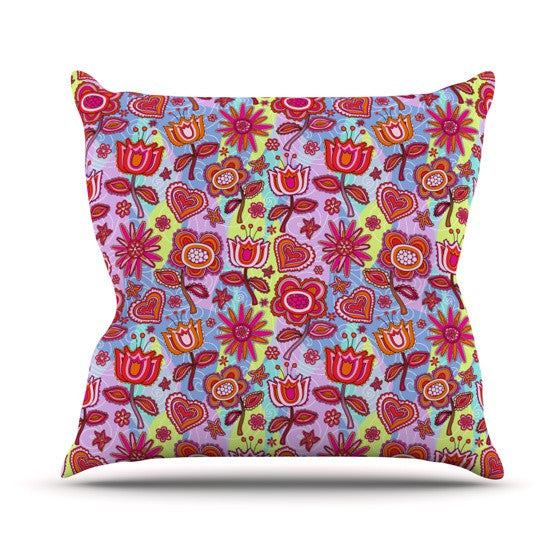 "Julia Grifol ""My Folk Flowers"" Outdoor Throw Pillow - KESS InHouse  - 1"