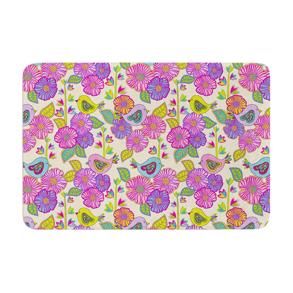 "Julia Grifol ""My Birds and My Flowers"" Memory Foam Bath Mat - KESS InHouse"
