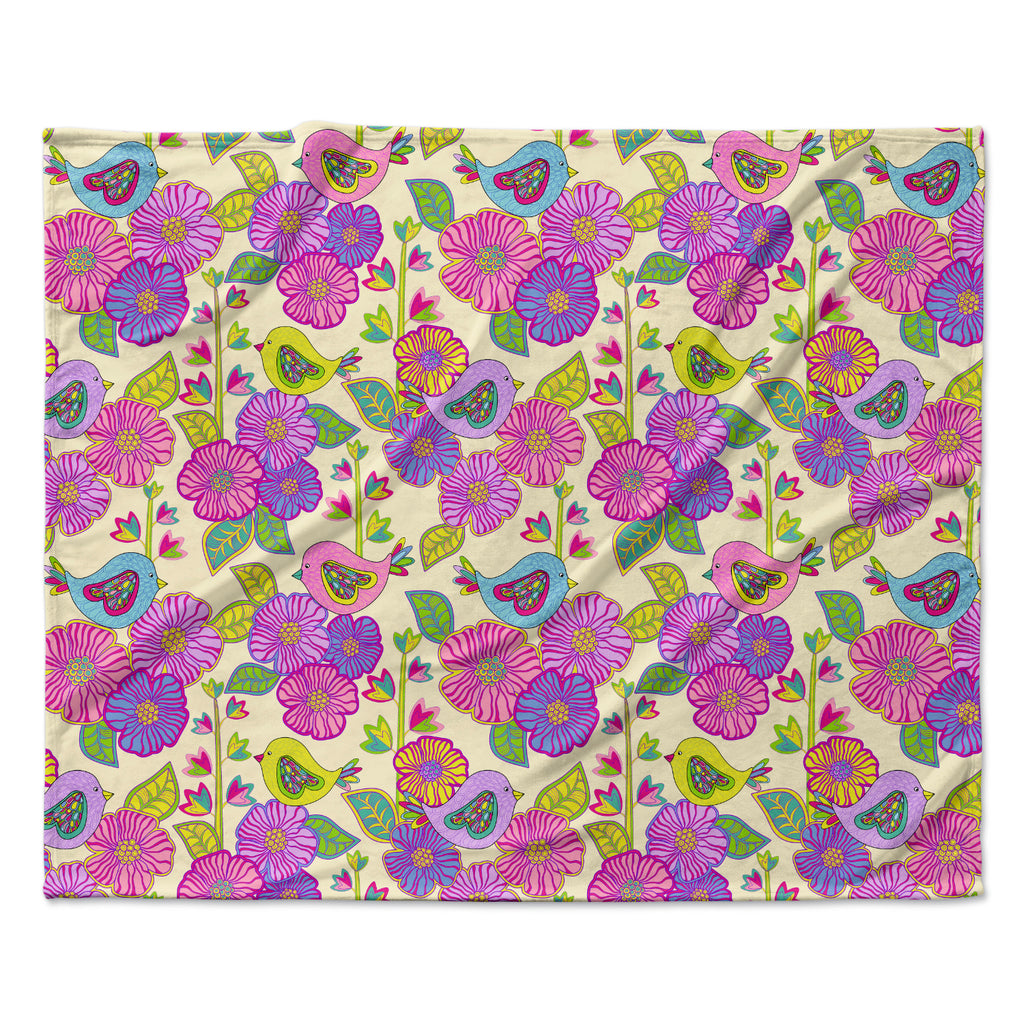 "Julia Grifol ""My Birds and My Flowers"" Fleece Throw Blanket"