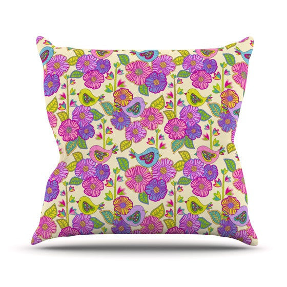 "Julia Grifol ""My Birds and My Flowers"" Outdoor Throw Pillow - KESS InHouse  - 1"