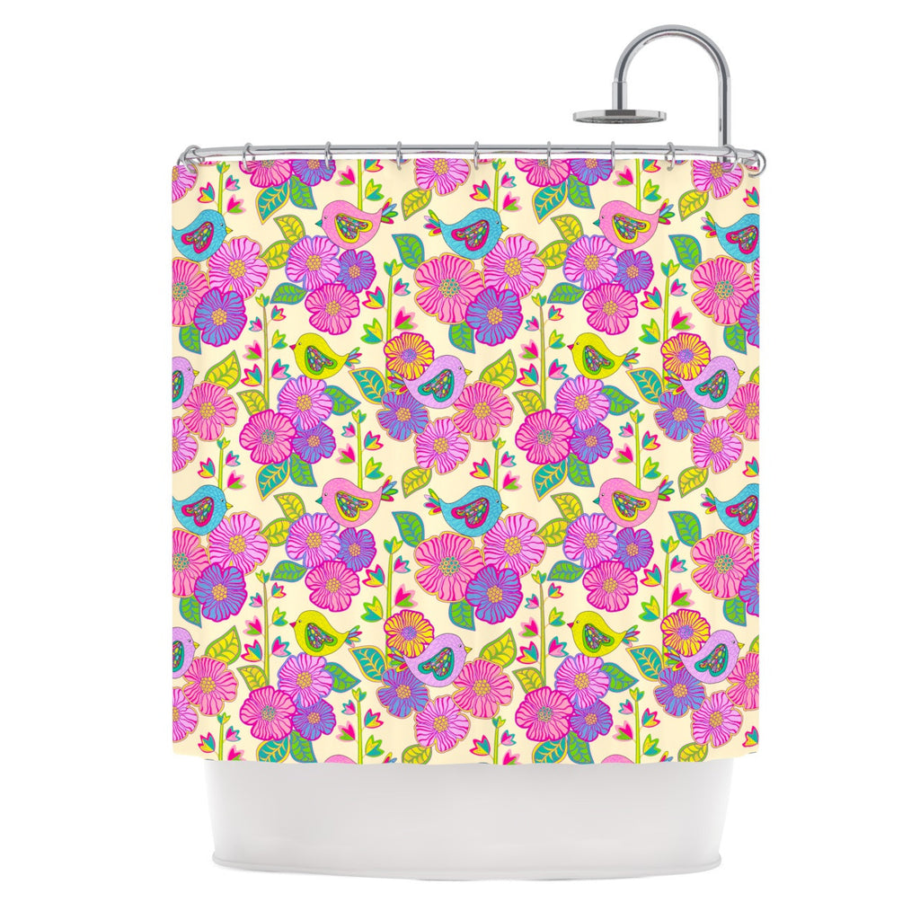"Julia Grifol ""My Birds and My Flowers"" Shower Curtain - KESS InHouse"
