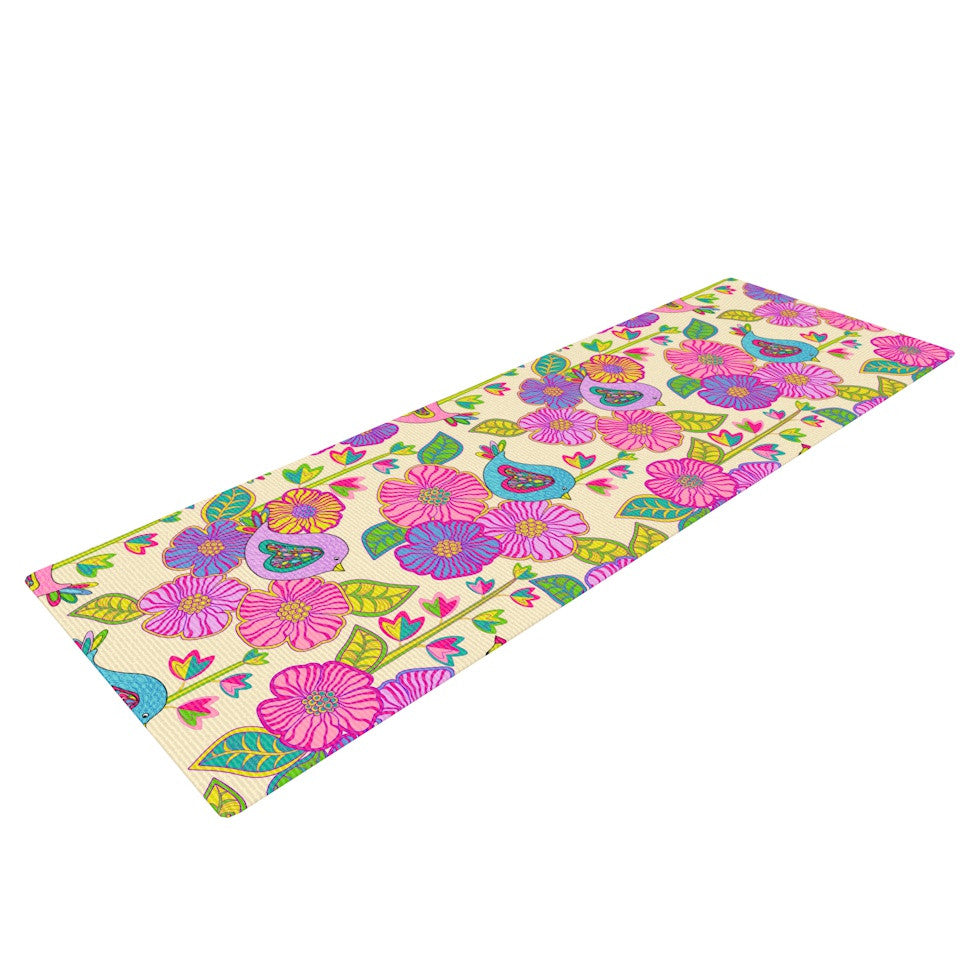 "Julia Grifol ""My Birds and My Flowers"" Yoga Mat - KESS InHouse  - 1"