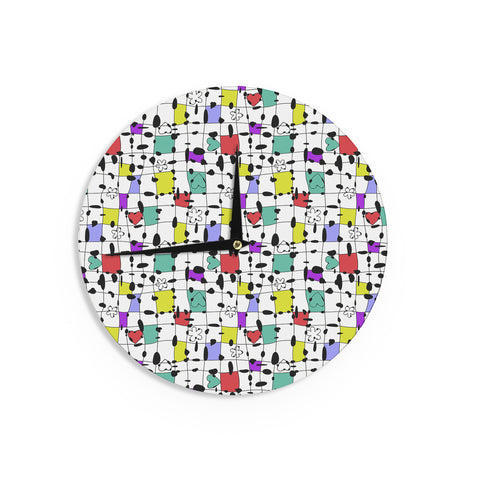 "Julia Grifol ""My Happy Squares"" Wall Clock - KESS InHouse"