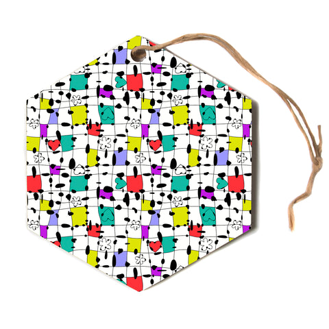 "julia grifol ""My Happy Squares""  Hexagon Holiday Ornament"