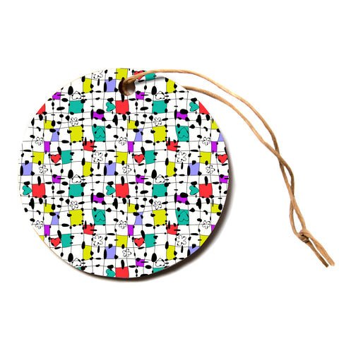 "julia grifol ""My Happy Squares""  Circle Holiday Ornament"