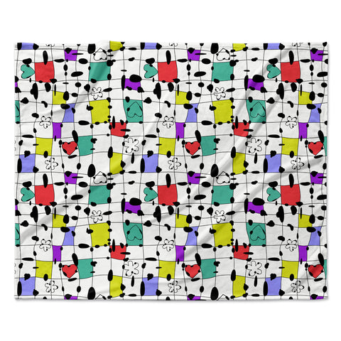 "Julia Grifol ""My Happy Squares"" Fleece Throw Blanket"