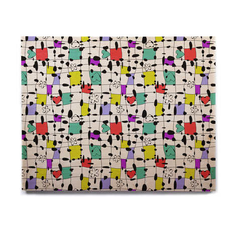 "Julia Grifol ""My Happy Squares"" Birchwood Wall Art - KESS InHouse  - 1"