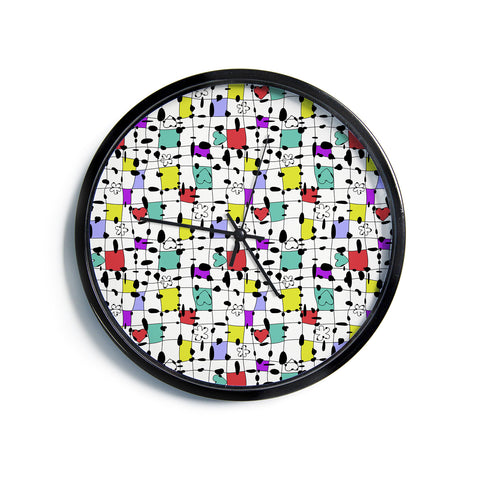 "Julia Grifol ""My Happy Squares""  Modern Wall Clock"