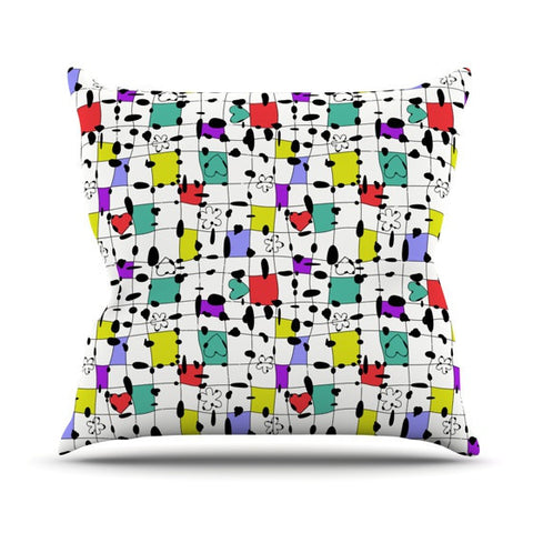 "Julia Grifol ""My Happy Squares"" Outdoor Throw Pillow - KESS InHouse  - 1"