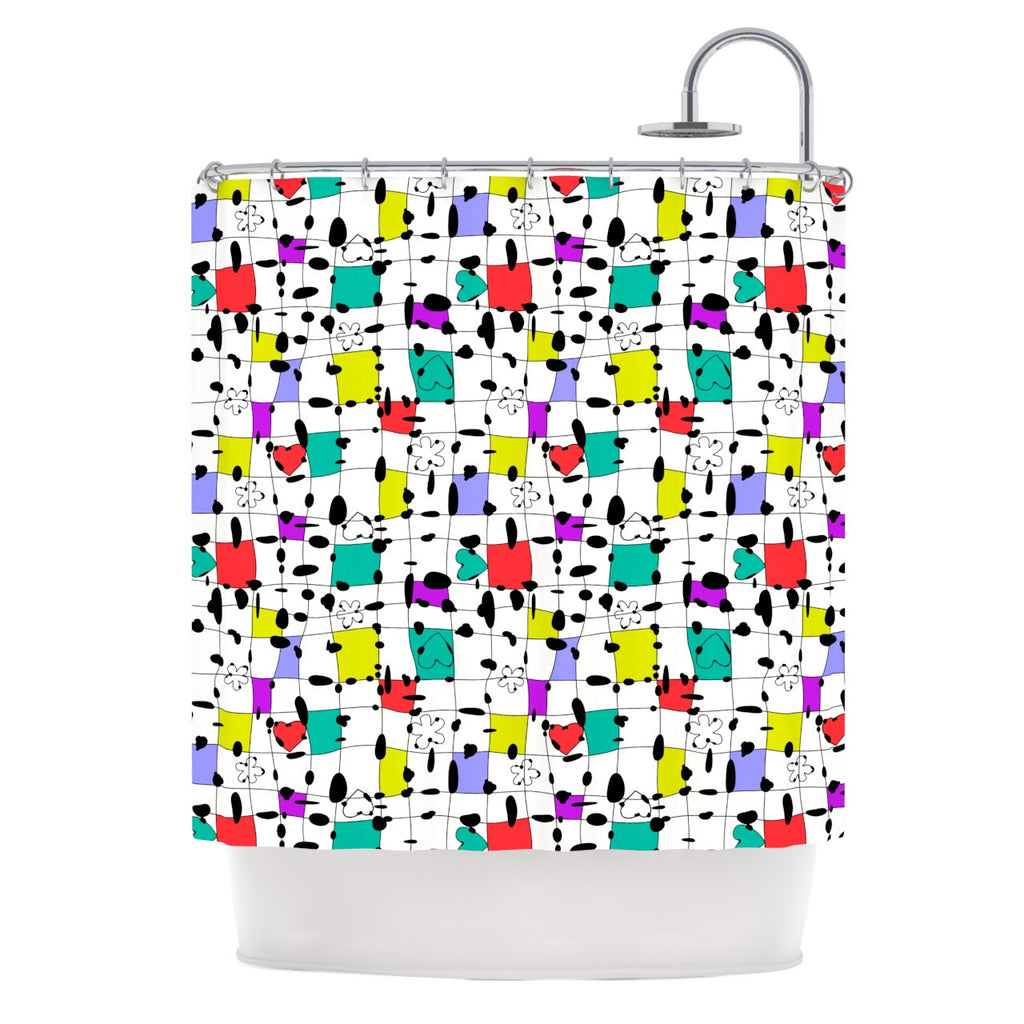 "Julia Grifol ""My Happy Squares"" Shower Curtain - KESS InHouse"