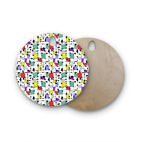 "Julia Grifol ""My Happy Squares"" Round Wooden Cutting Board"