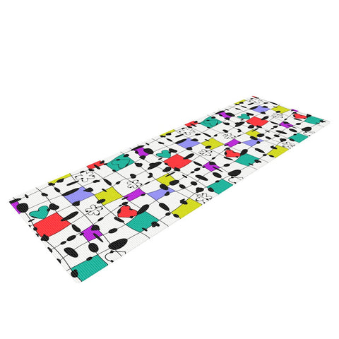 "Julia Grifol ""My Happy Squares"" Yoga Mat - KESS InHouse  - 1"