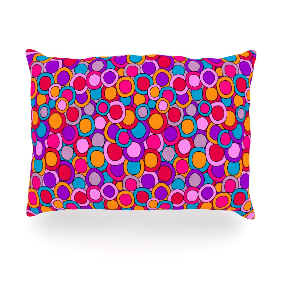 "Julia Grifol ""My Colourful Circles"" Oblong Pillow - KESS InHouse"