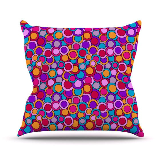"Julia Grifol ""My Colourful Circles"" Outdoor Throw Pillow - KESS InHouse  - 1"