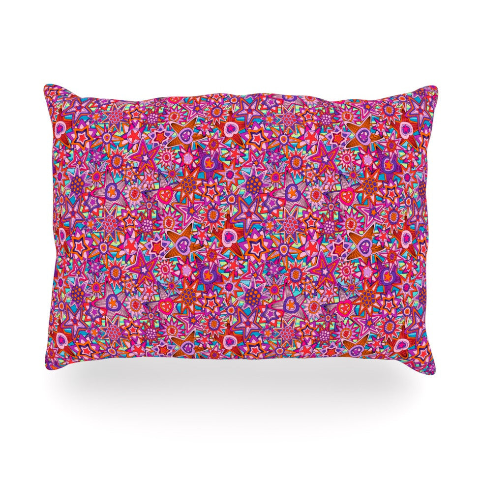 "Julia Grifol ""My Dreams in Color"" Pink Stars Oblong Pillow - KESS InHouse"