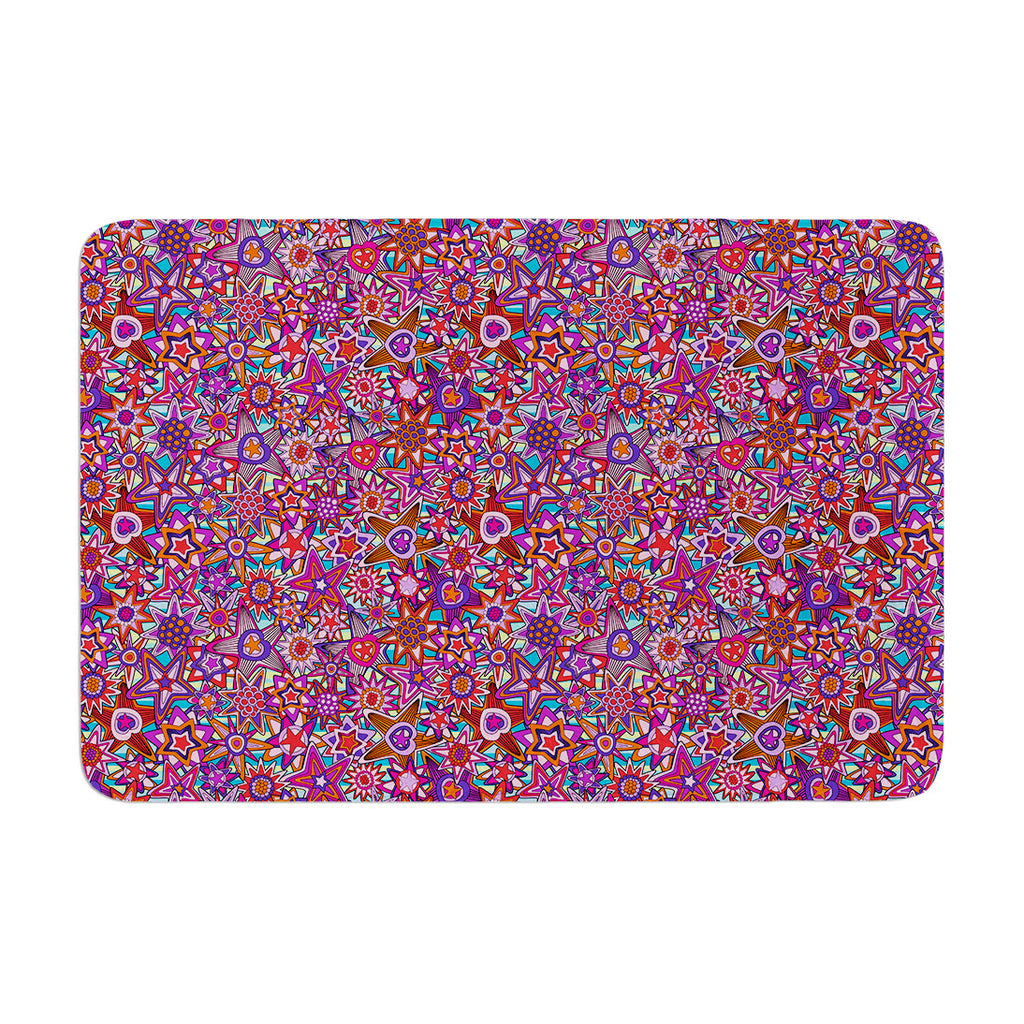 "Julia Grifol ""My Dreams in Color"" Pink Stars Memory Foam Bath Mat - KESS InHouse"