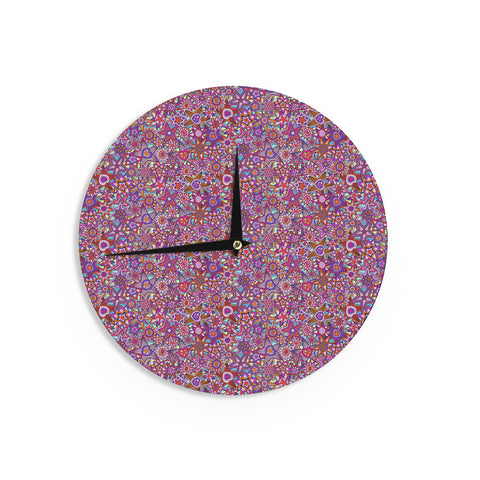 "Julia Grifol ""My Dreams in Color"" Pink Stars Wall Clock - KESS InHouse"