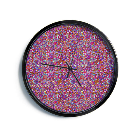"Julia Grifol ""My Dreams in Color"" Pink Stars Modern Wall Clock"