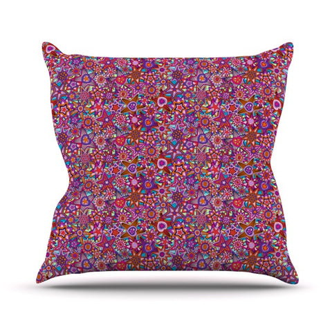 "Julia Grifol ""My Dreams in Color"" Pink Stars Outdoor Throw Pillow - KESS InHouse  - 1"